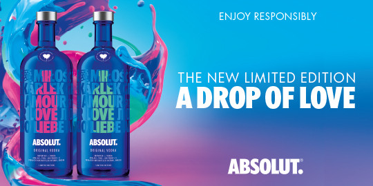 "Werbeanzeige Pernod Ricard Absolut Vodka Limited Edition ""A drop of love"""