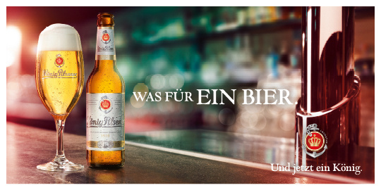 Werbeanzeige König Pilsener frisch gezapft ein herrliches Bier