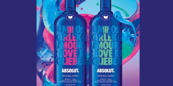Absolut Vodka Limited Edition A Drop of Love, rosa und mint