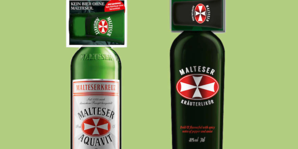 Malteserkreuz Aquavit und Kräuterlikör mit Glas-On-Pack