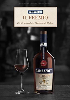 Werbeanzeige Ramazzotti Il Premio Flasche und Stilglas