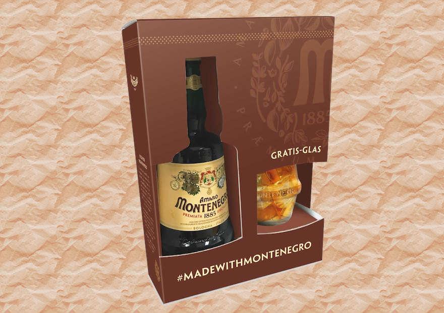 Amaro Montenegro in Geschenkpackung mit Glas-Inpack