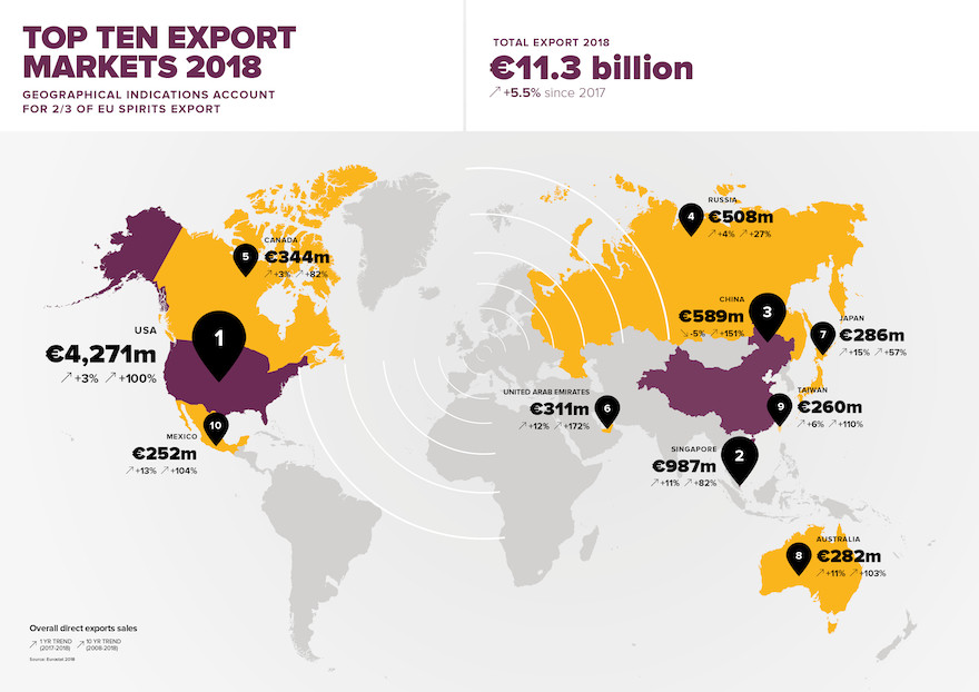 Karte Spirituosenexporte aus der EU