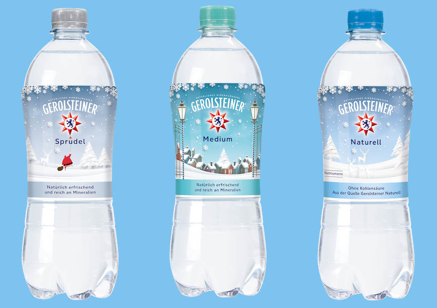 Mineralwasser mit Winter-Etikett