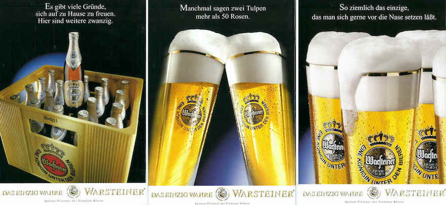 Warsteiner Werbemotive 1998 und 1999
