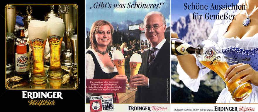 Erdinger-Werbemotive aus den Jahren 1990 (links), 2008 (Mitte) und 2011