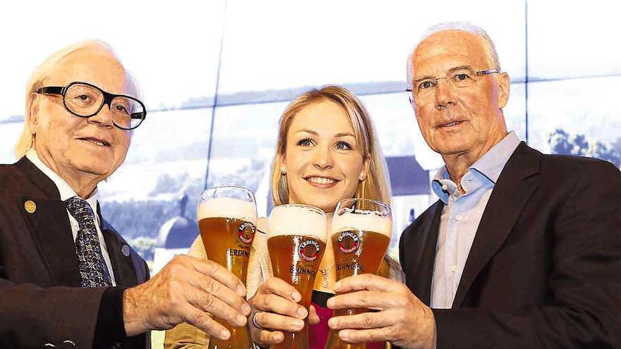Werner Brombach, Magdalena Neuner und Franz Beckenbauer