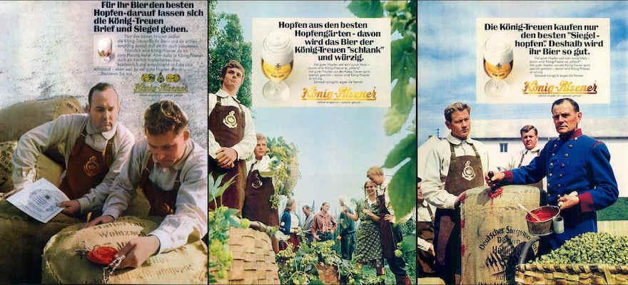 Werbemotive von König Pilsener aus den Jahren 1968 und 1969