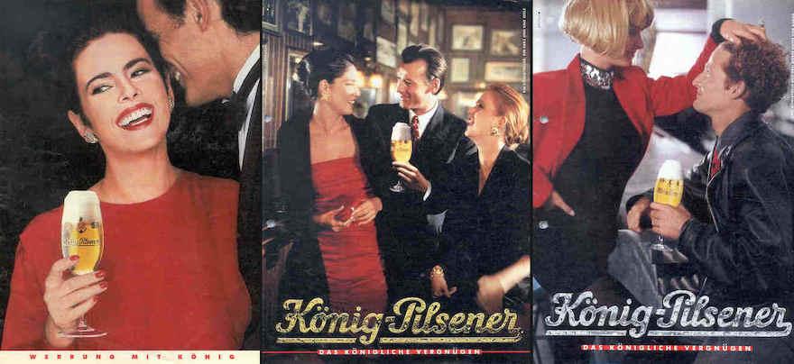 Werbemotive König Pilsener von 1987 (links), 1991 (Mitte) und 1992