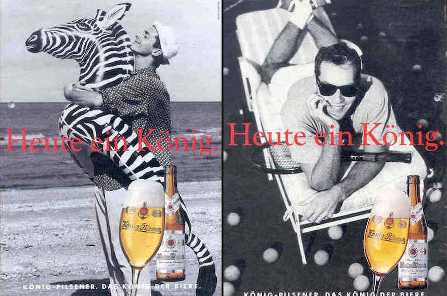 Werbemotive König Pilsener von 1993 (links) und 1994