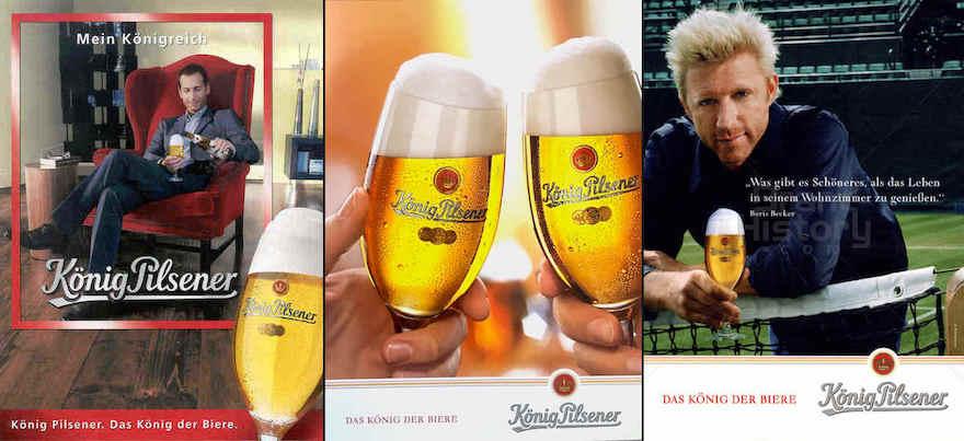 Werbemotive König Pilsener von 2002 (links) und 2005