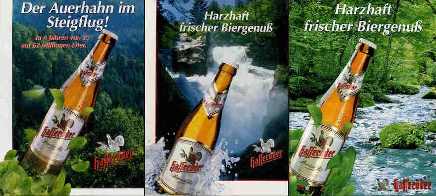 Hasseröder Werbemotive von 1993, 1994 und 2000 (v.l.)