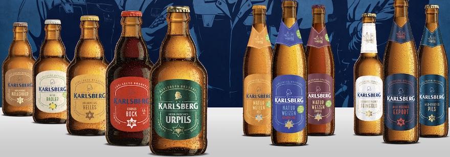 Die Karlsberg-Bier-Range vor dem Etiketten-Relaunch