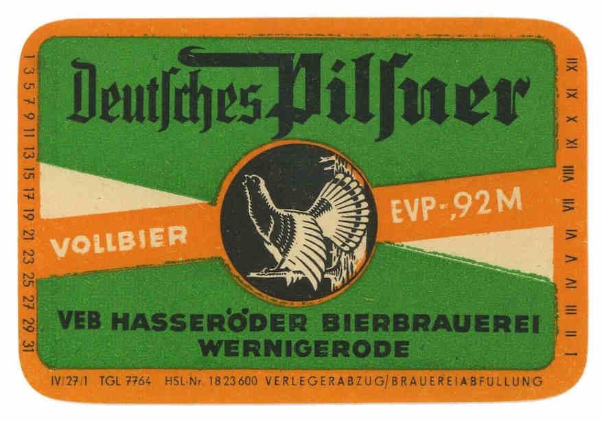 Historisches Etikett der Hasseröder Brauerei