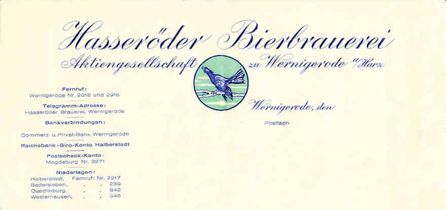 Briefkopf der Hasseröder Brauerei Ende 1930er-Jahren