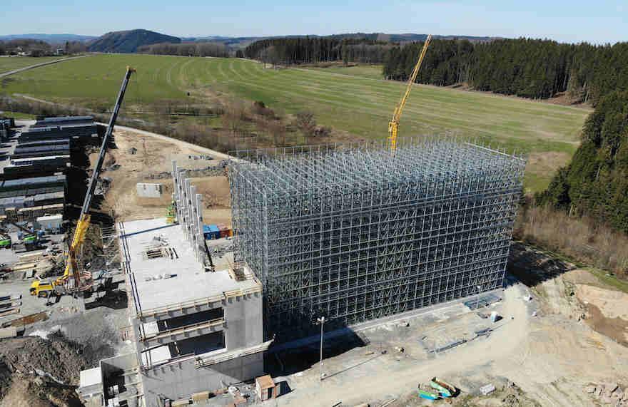 Bauarbeiten am Logistiklager der Brauerei Veltins