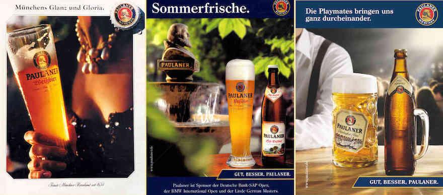 Paulaner Werbemotive von 1993 (links), 2004 (Mitte) und