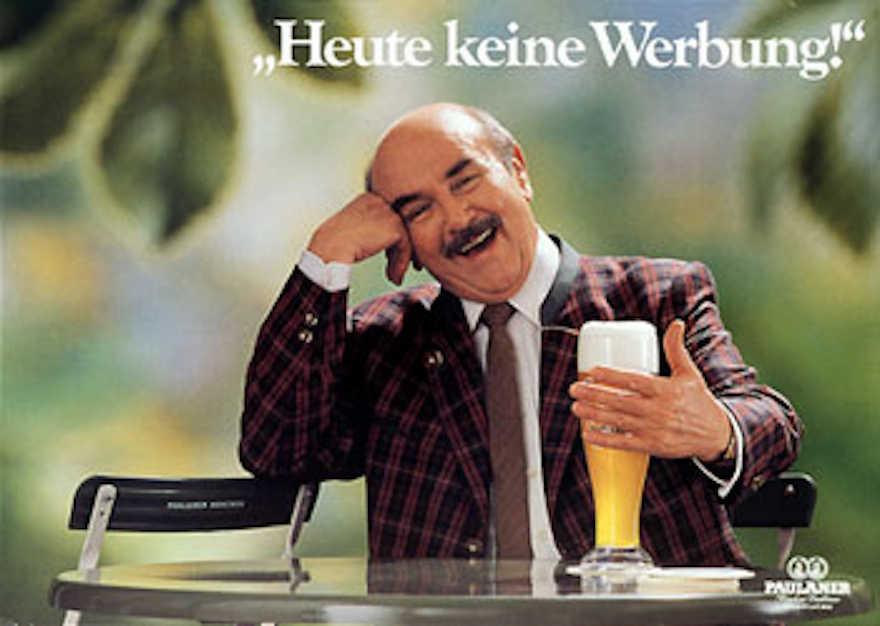 Paulaner Werbemotiv mit Walter Sedlmeyr von 1990