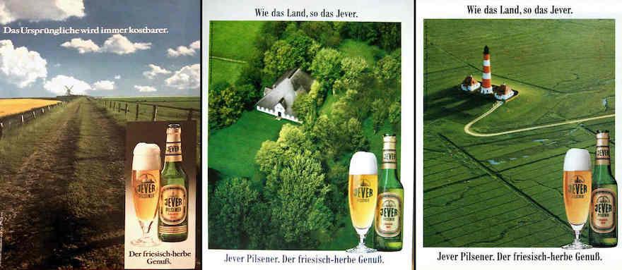 Jever-Werbemotive von 1980, 1985 und 1989 (v.l.n.r.)