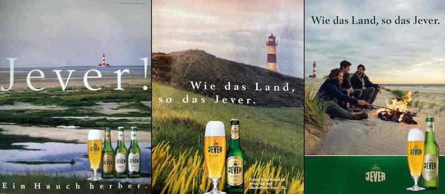 Jever-Werbemotive von 1994, 1998 und 2018