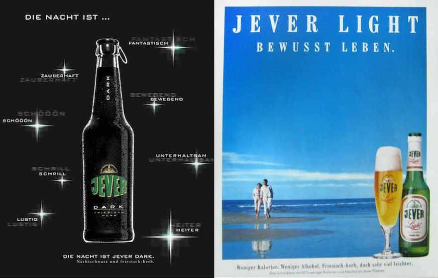 Werbemotive Jever Dark und Jever Light