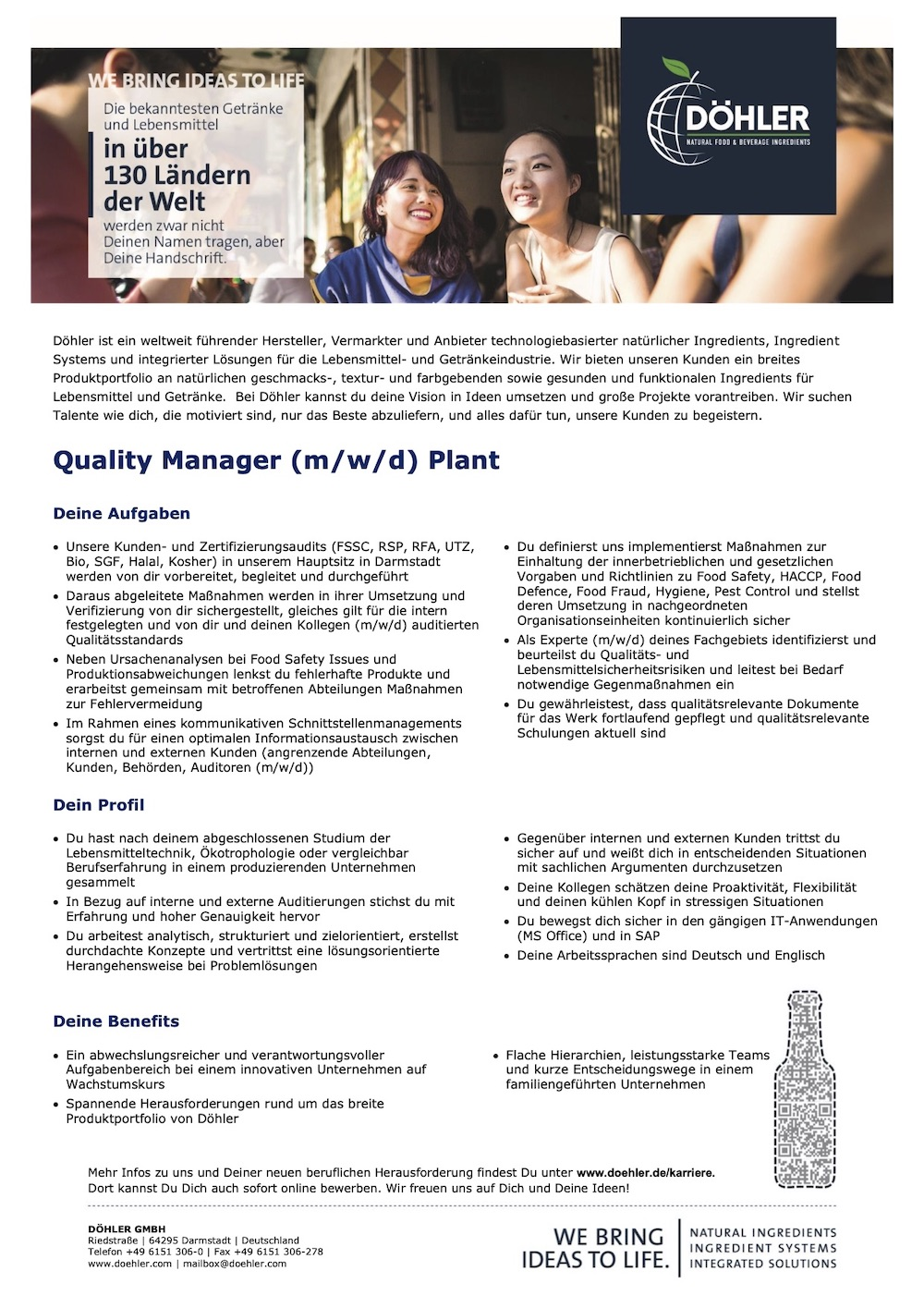 Quality Manager (m/w/d) Plant