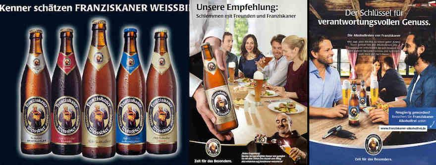 Franziskaner Werbung von 2005, 2010 und 2015