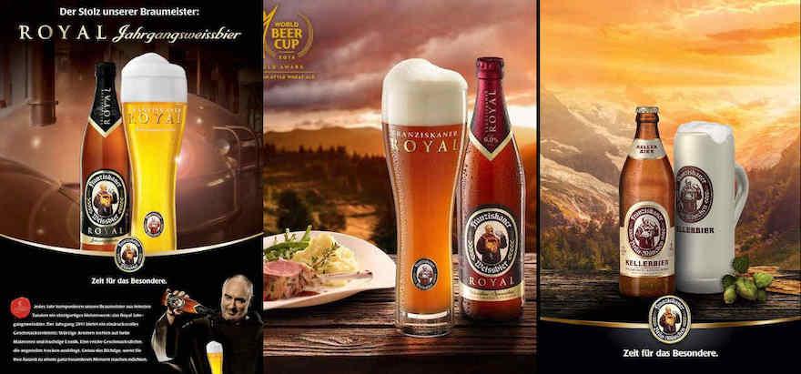 Werbung für Franziskaner Royal und Kellerbier