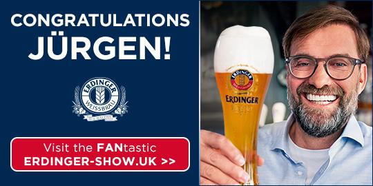 """Werbeanzeige Erdinger """"Congratulations Jürgen!"""""""