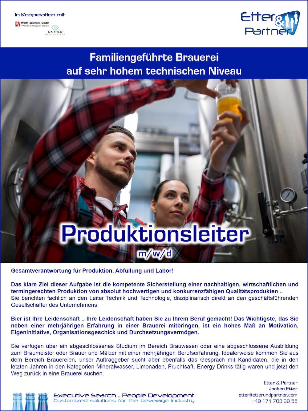 Produktionsleiter Brauerei m/w/d