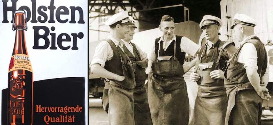 Holsten-Werbemotiv 1950 (links) und Holsten-Bierkutscher 1960