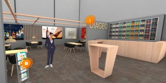 """Diageo hat den virtuellen Stand nach dem Vorbild seines """"echten"""" Messeauftritts gestaltet."""
