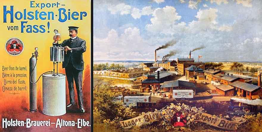 Holsten-Werbemotive von 1880 (links) und 1900