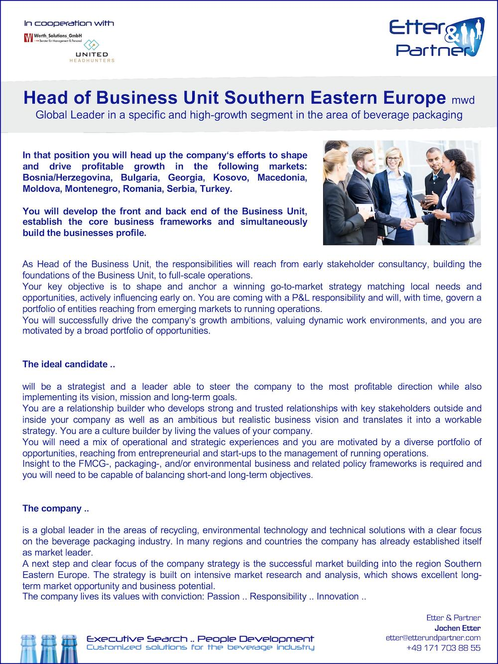 Head of Business Unit Southern Eastern Europe (m/w/d)