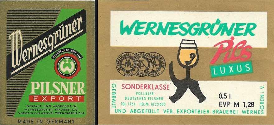 DDR-Etiketten von Wernesgrüner