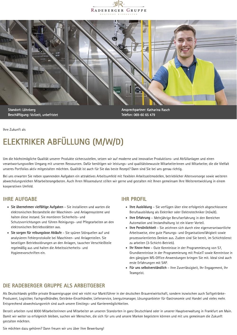 Elektriker Abfüllung (m/w/d) - Vollzeit, unbefristet